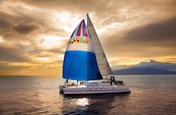 Maui sunset catamaran photo by http://www.sailtrilogy.com